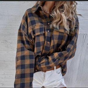 Plaid Button Front Cotton Shirt